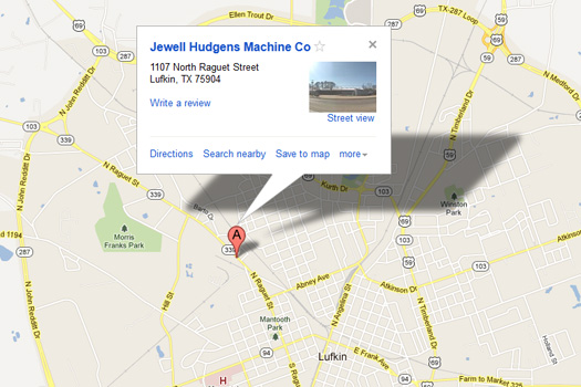 Map of Jewell Hudgens Machine Shop